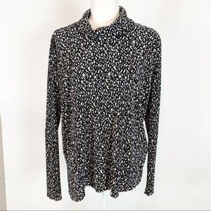 TOPSHOP Black & White Long Sleeve Top Size 6